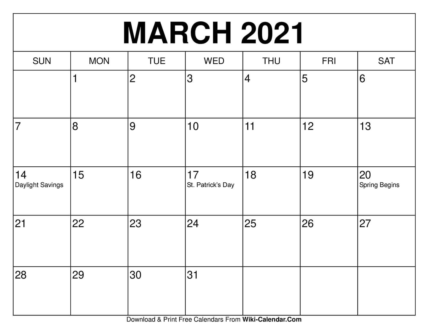 Free Printable March 2021 Calendar Templates. These Free