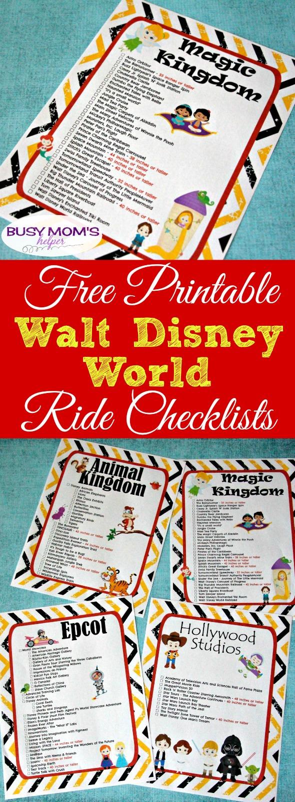 Free Printable Walt Disney World Ride Checklists - Busy Moms