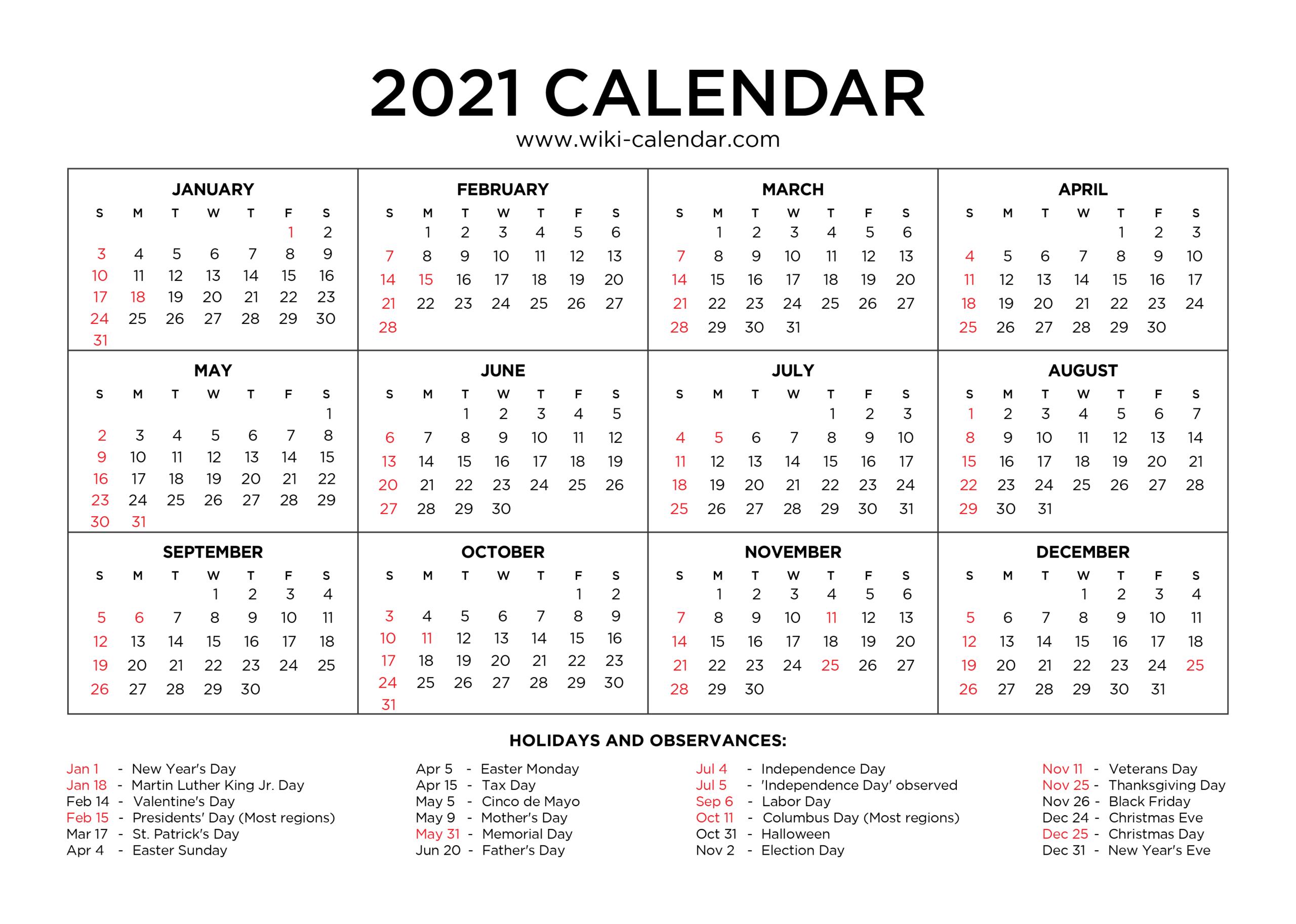 Free Printable Year 2021 Calendar With Holidays