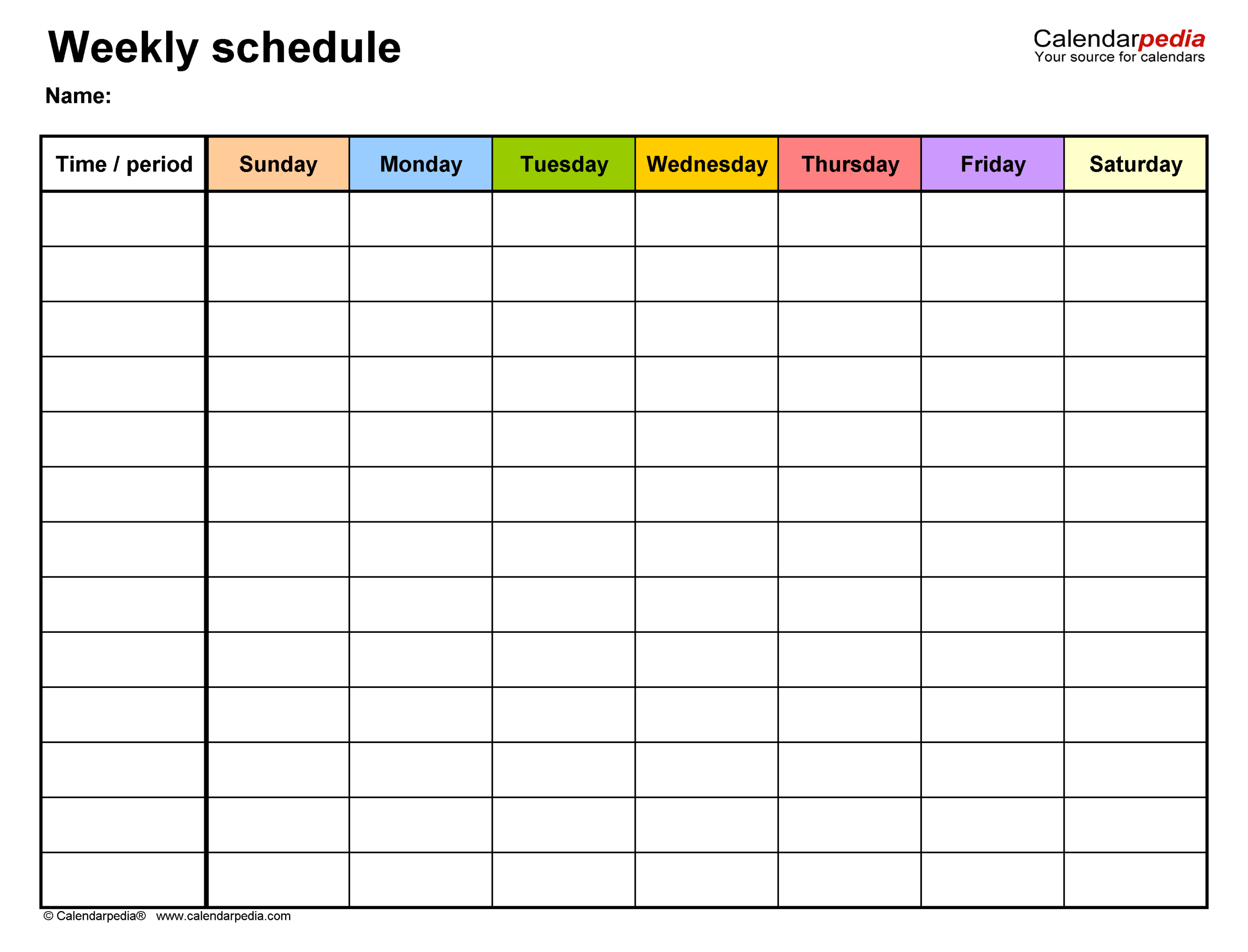 Free Weekly Schedules For Word - 18 Templates