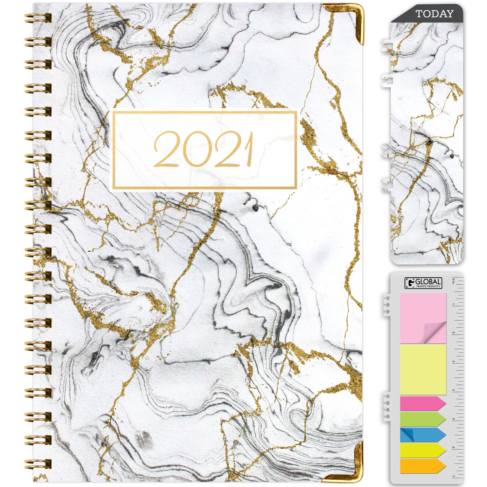 Hardcover 2021 Planner - (Nov 2020 - Dec 2021) Daily Weekly Monthly Planner  Yearly Agenda. Bonus Bookmark, Pocket Folder And Sticky Note Set -