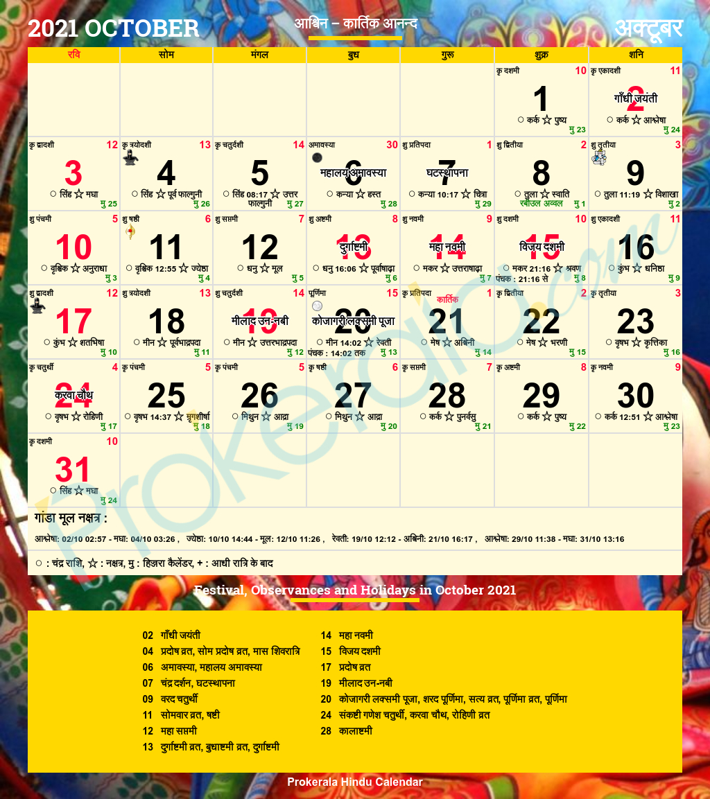Hindu Calendar 2021, October
