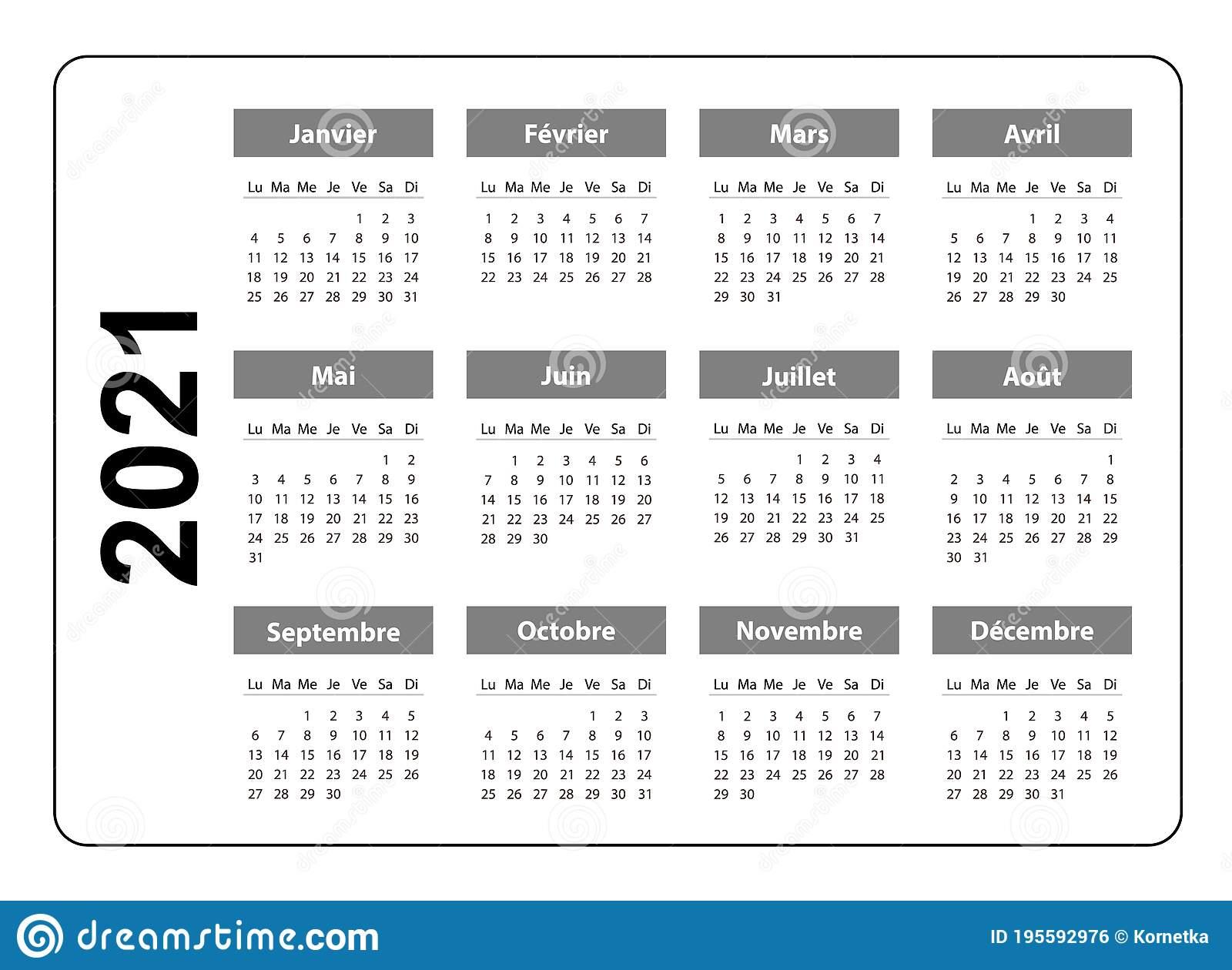 Horizontal Pocket Calendar On 2021 Year, French. Vector