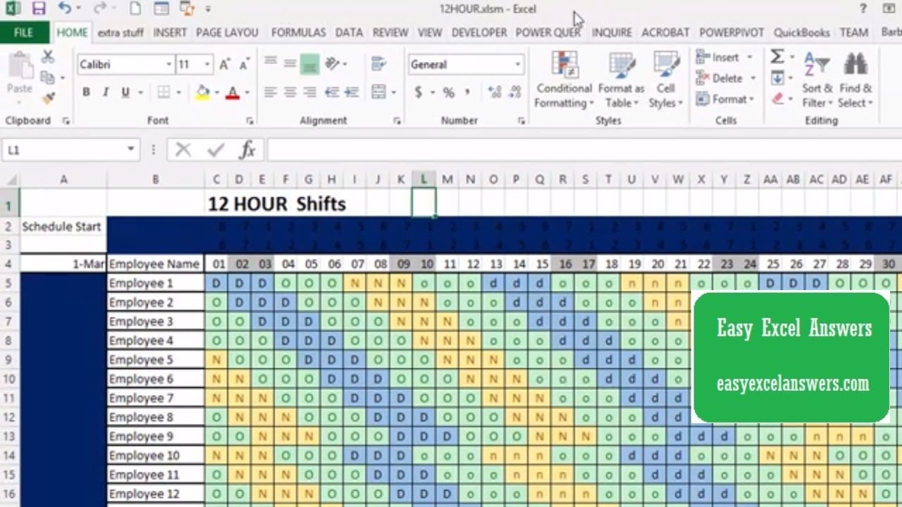 How To Make An Automatic 12-Hour Shift Schedule