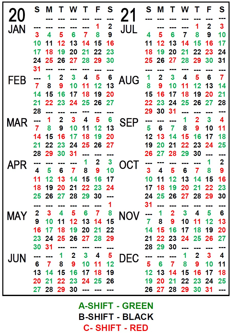 Firefighter Red Shift Calendar 2021 Printable Free