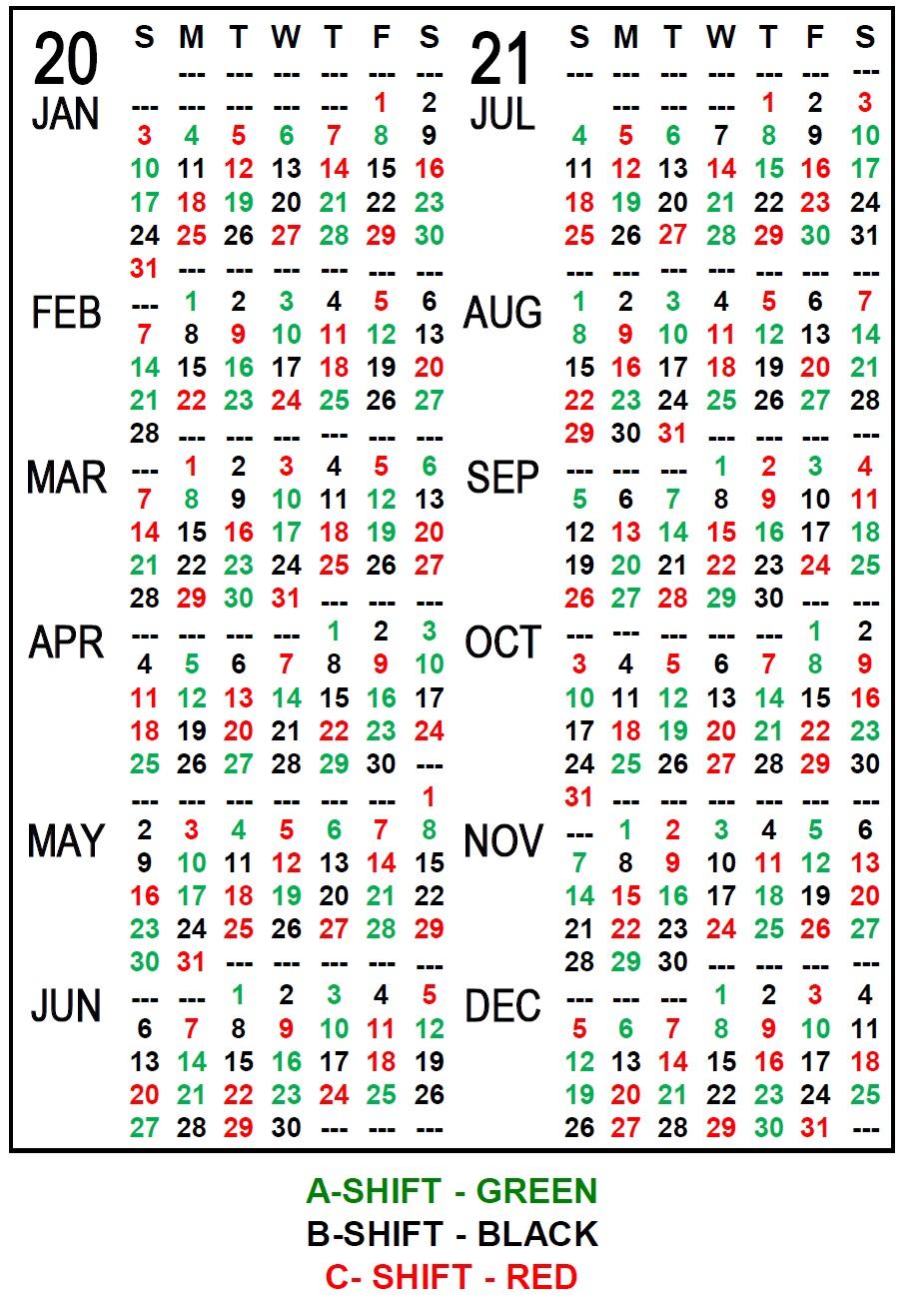 2021 Printable Firefighter Shift Calendar
