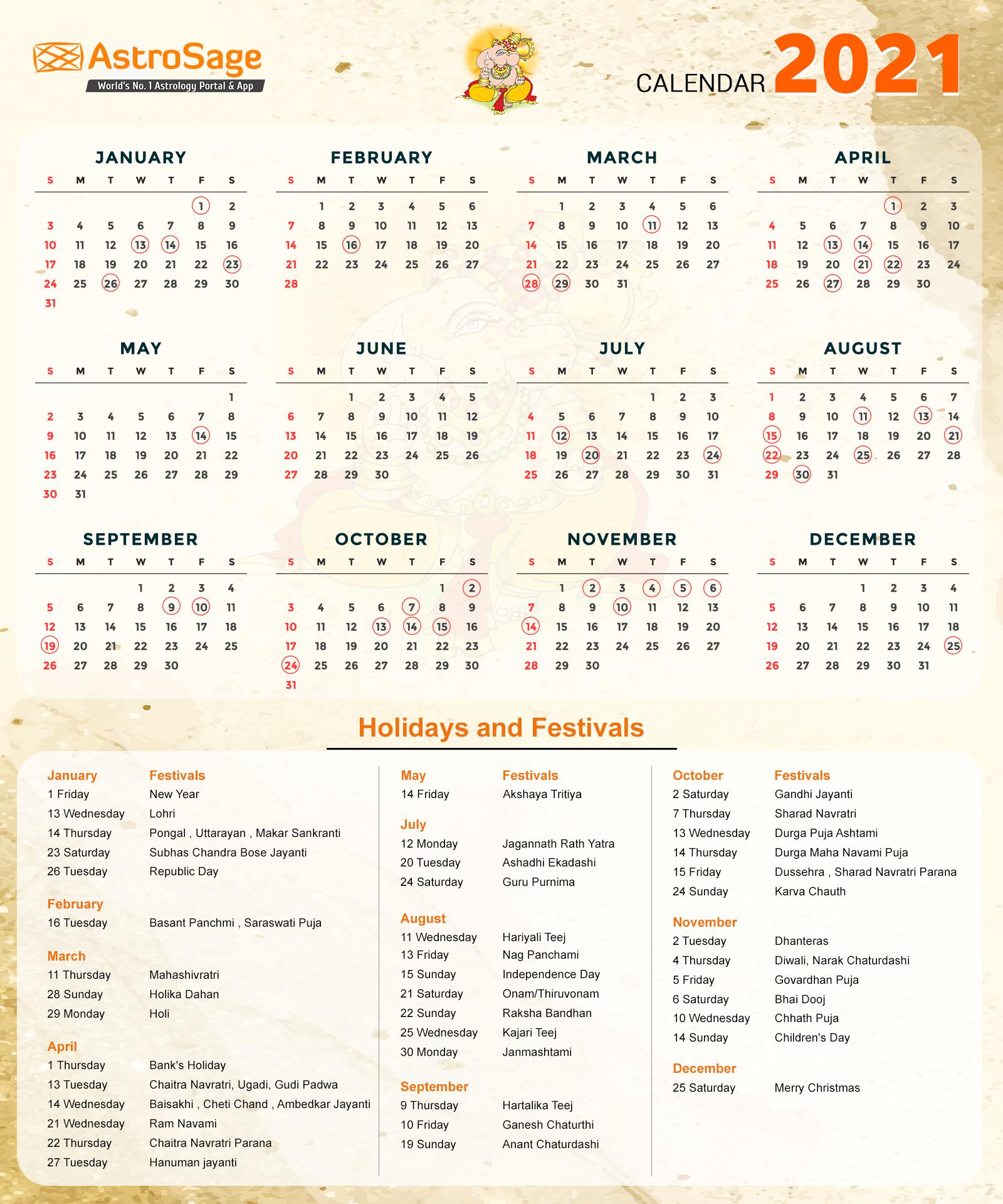 Indian Calendar 2021 - Indian Festivals & Holidays