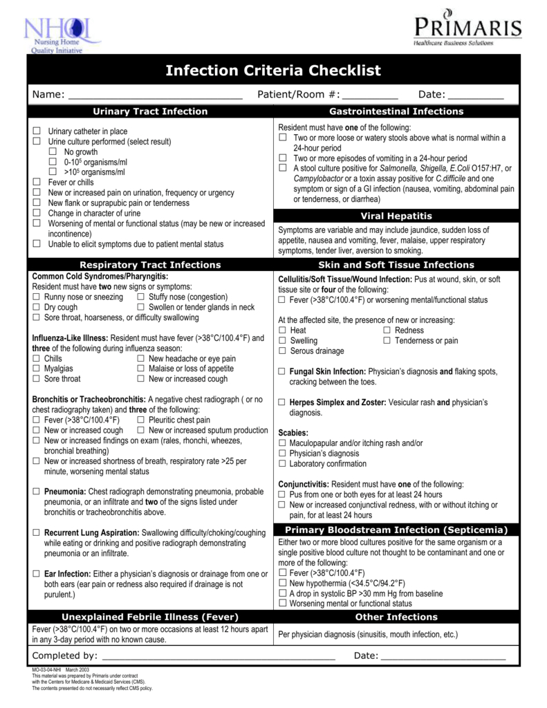 Infection Criteria Checklist