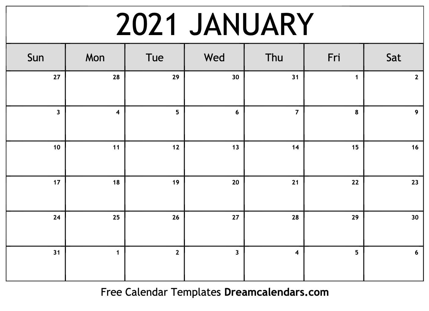 January 2021 Calendar | Free Blank Printable Templates
