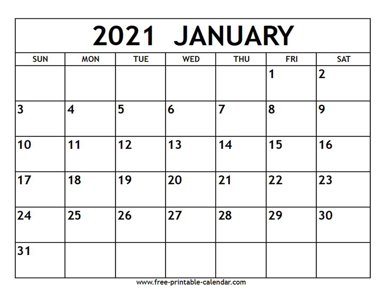 2021 January Shift Calendar Printable