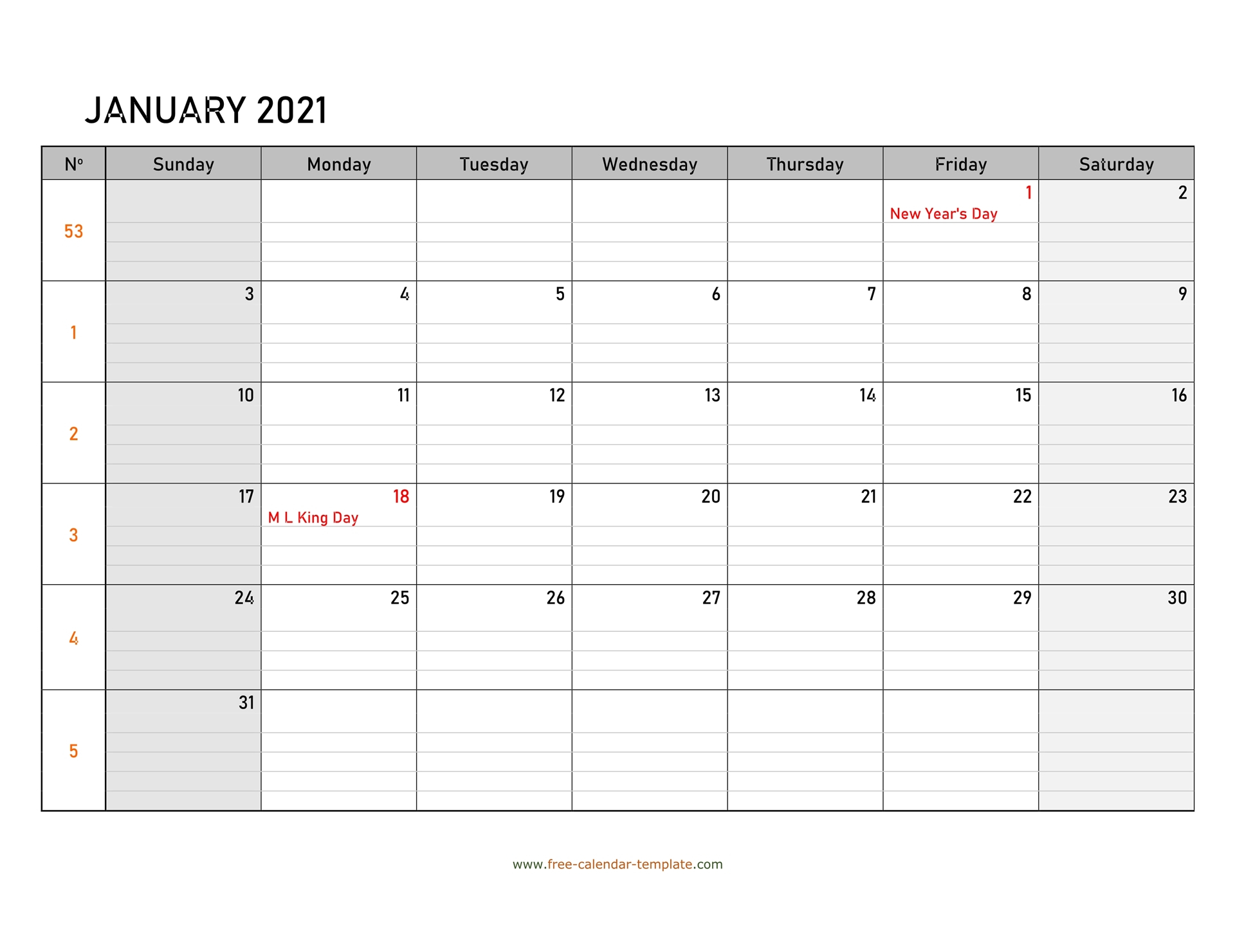 January 2021 Calendar Free Printable With Grid Lines