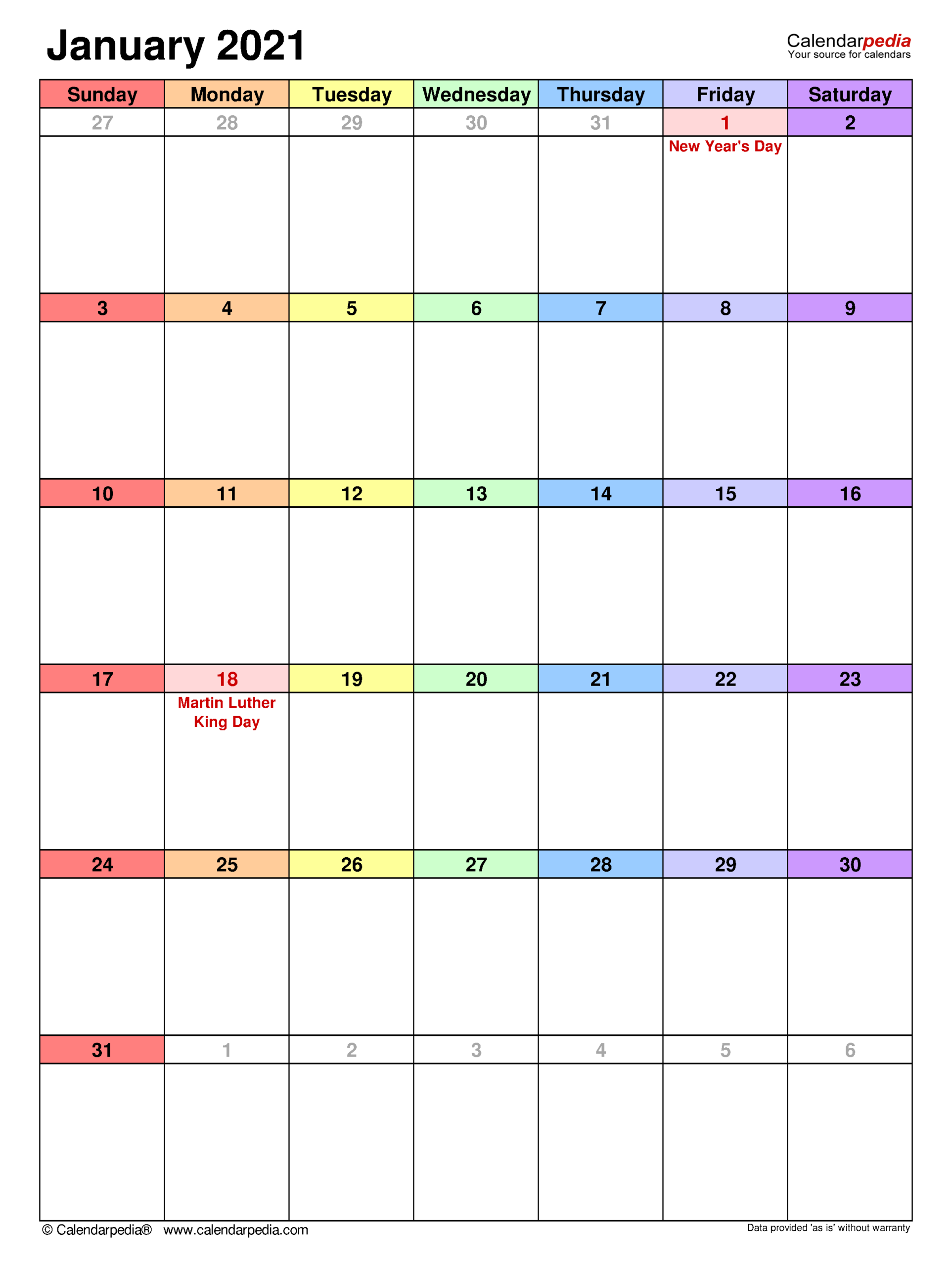 January 2021 Calendar | Templates For Word, Excel And Pdf