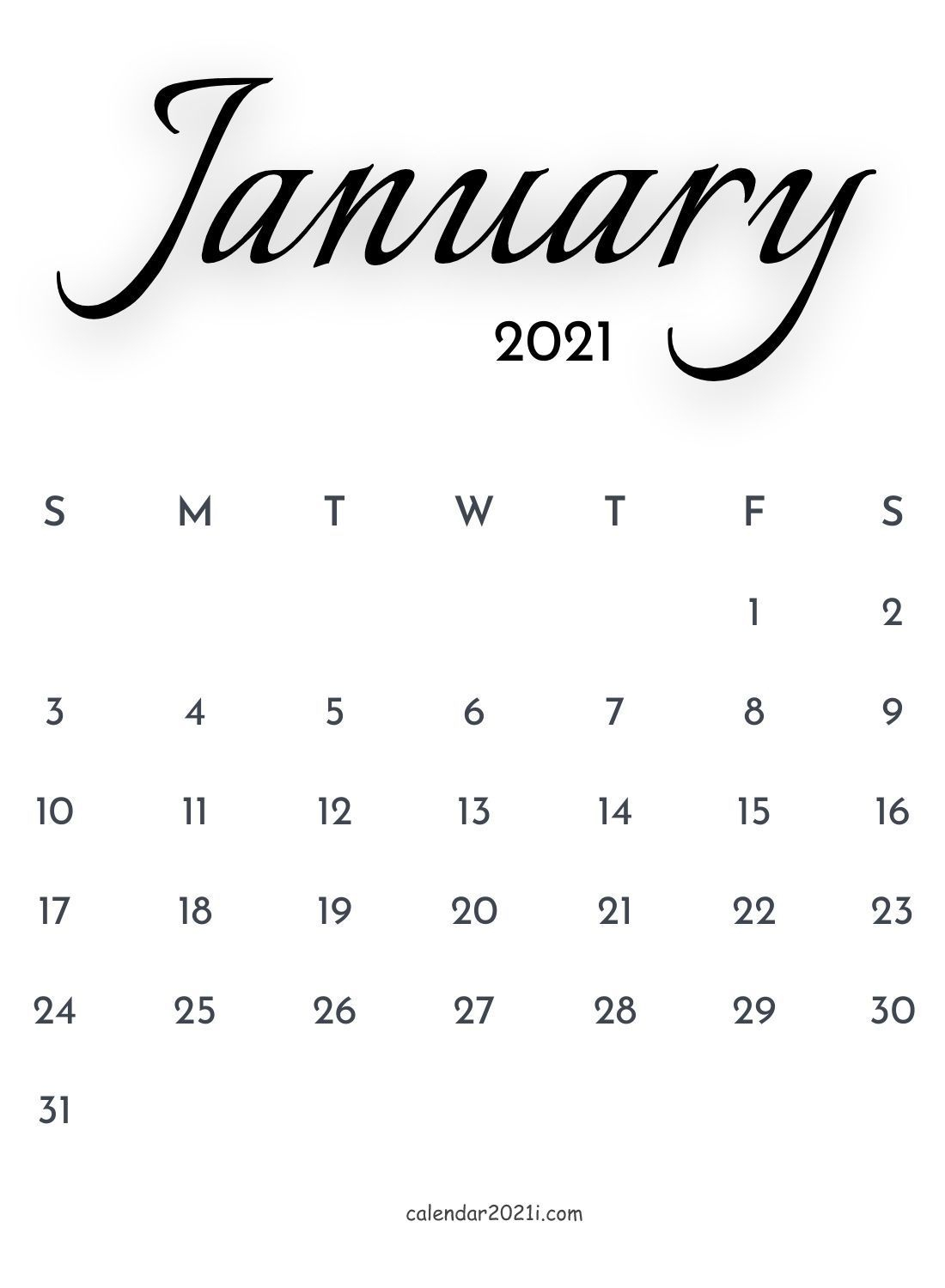 January 2021 Calligraphy Calendar Free Download