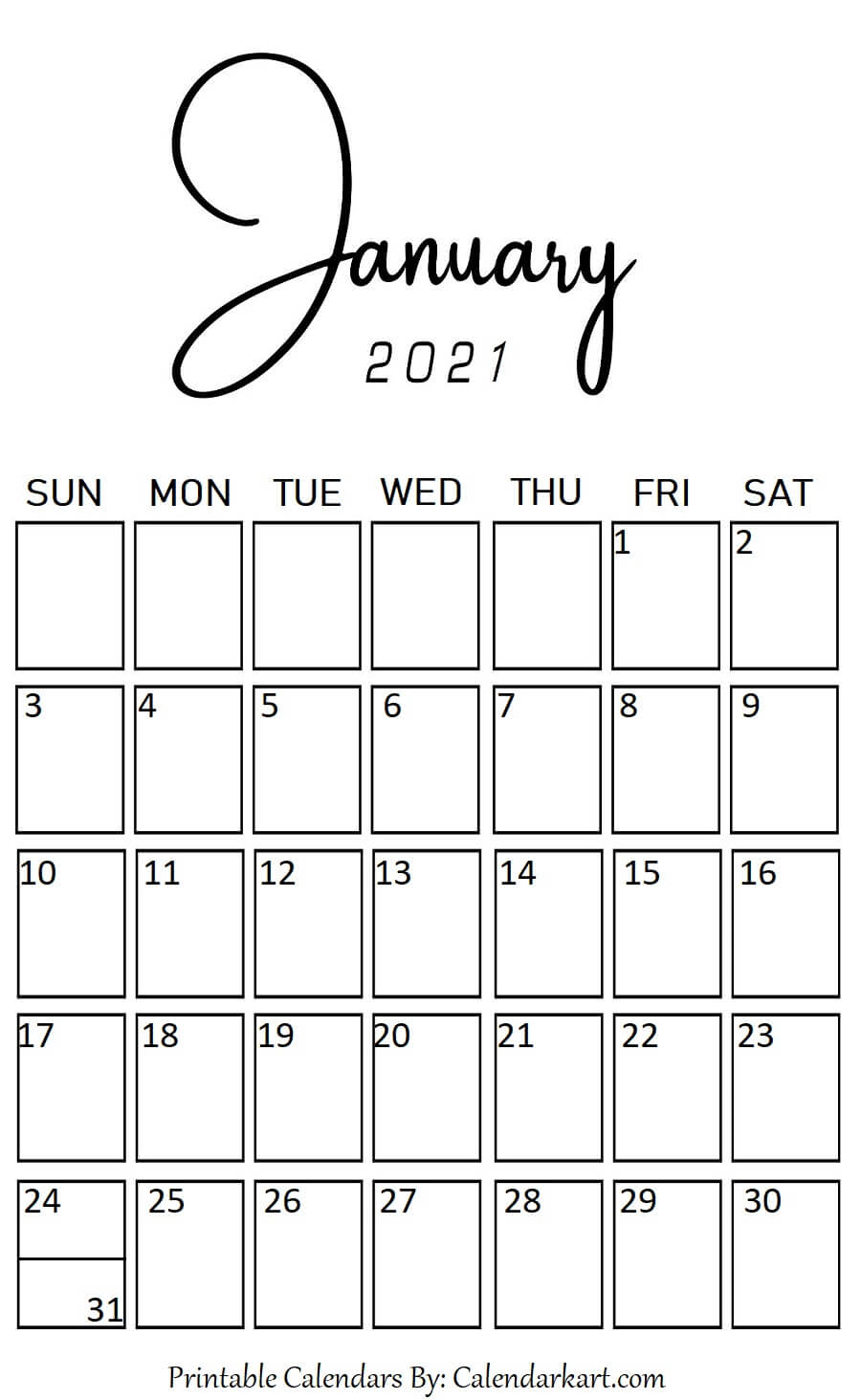 January 2021 Portrait (Vertical) Style Calendar | Calendar
