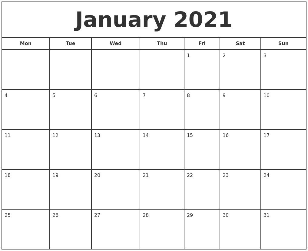 January 2021 Print Free Calendar In 2021 | Print Calendar