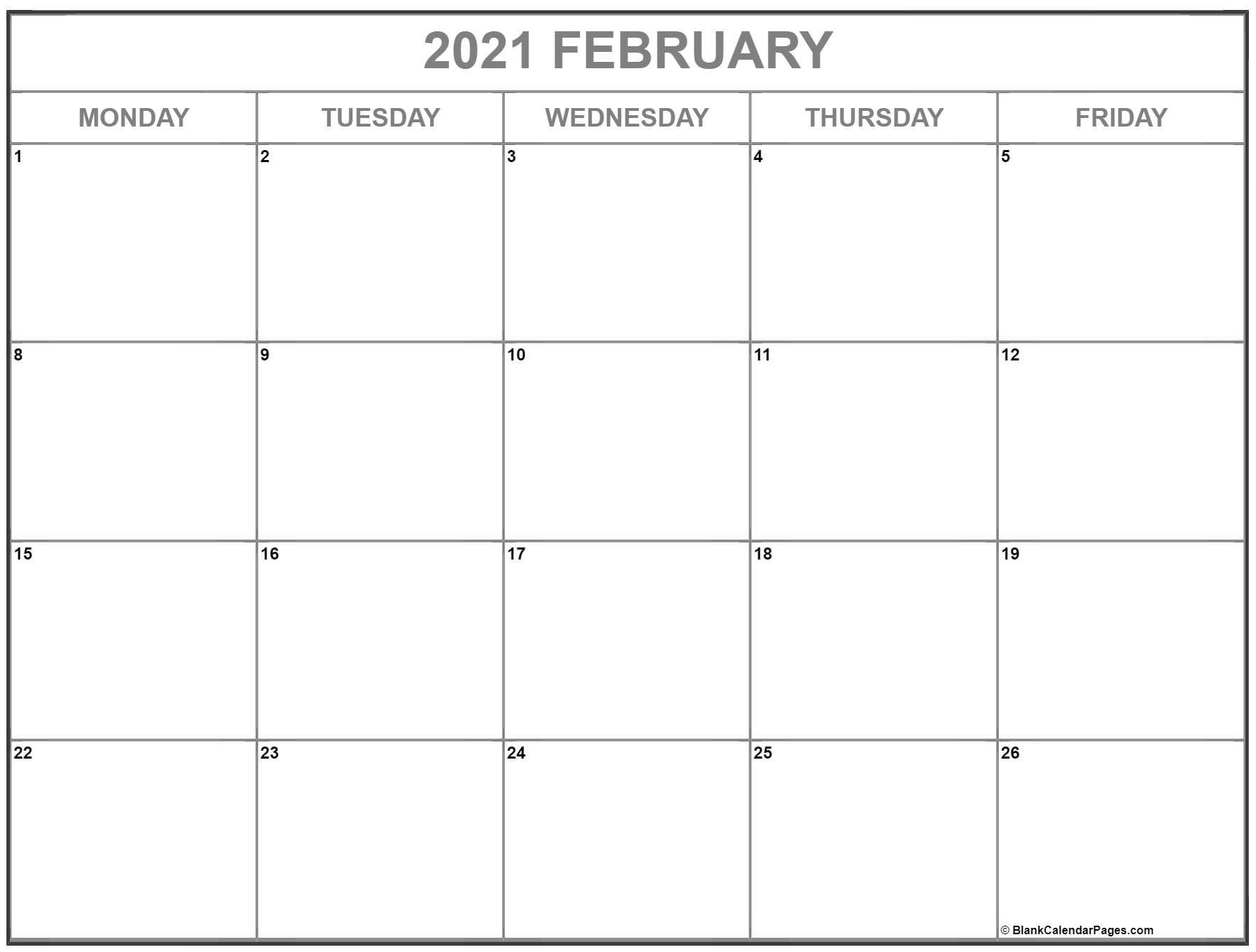 Monday – Friday Blank Calendar Template 2021