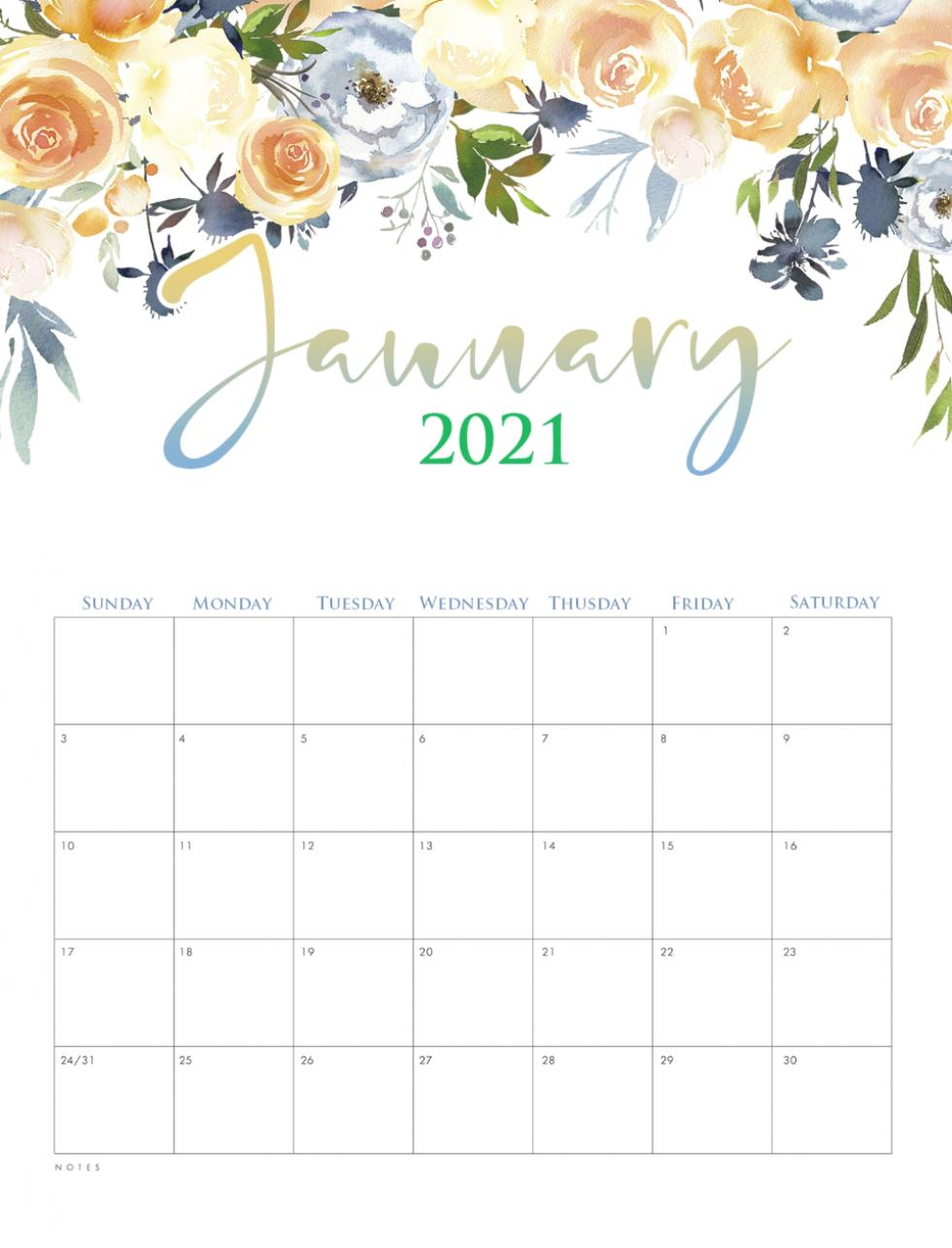 January Printable Calendar 2021 Cute Planner Monthly | Etsy