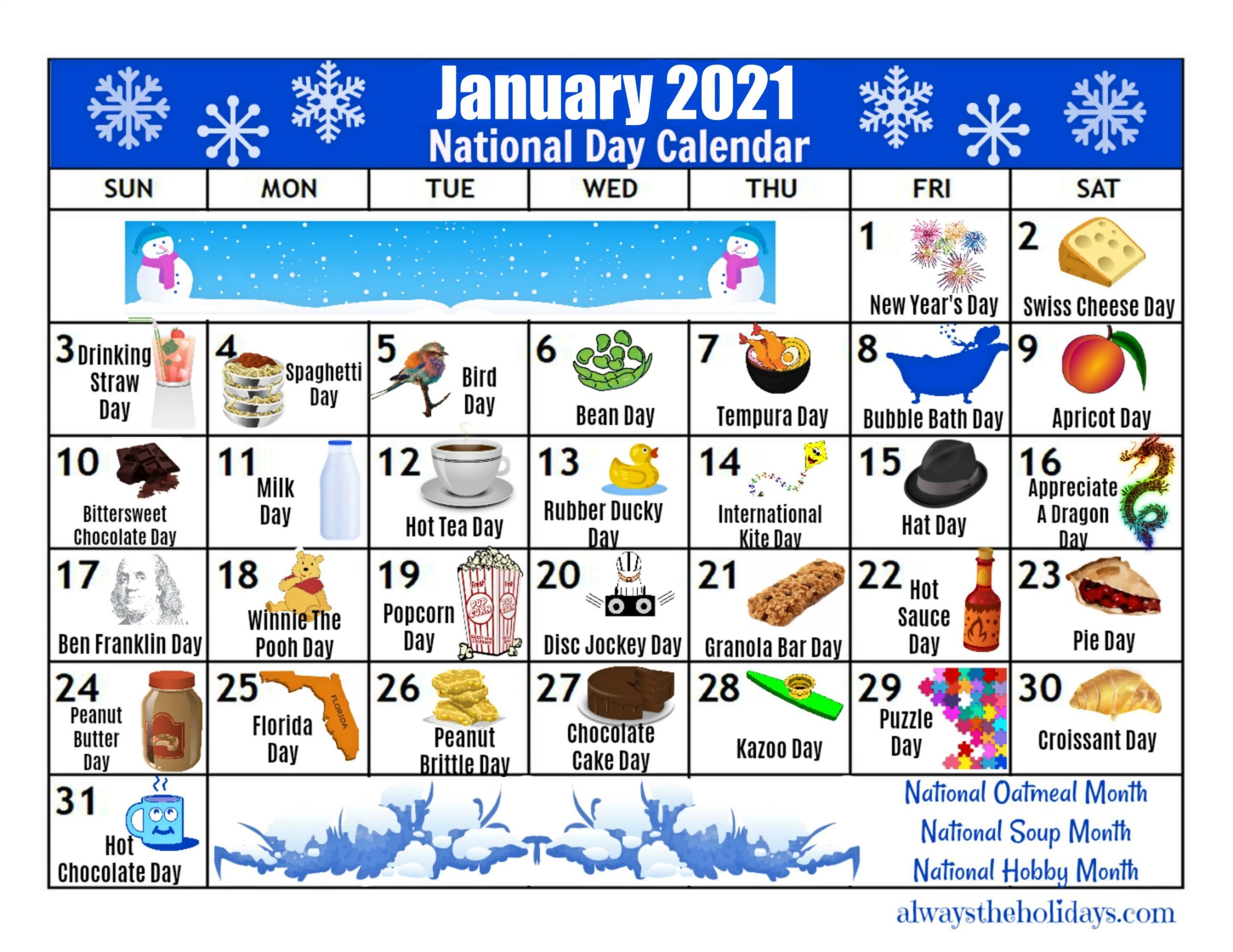 January Printable National Day Calendar 2021 - Free Planning