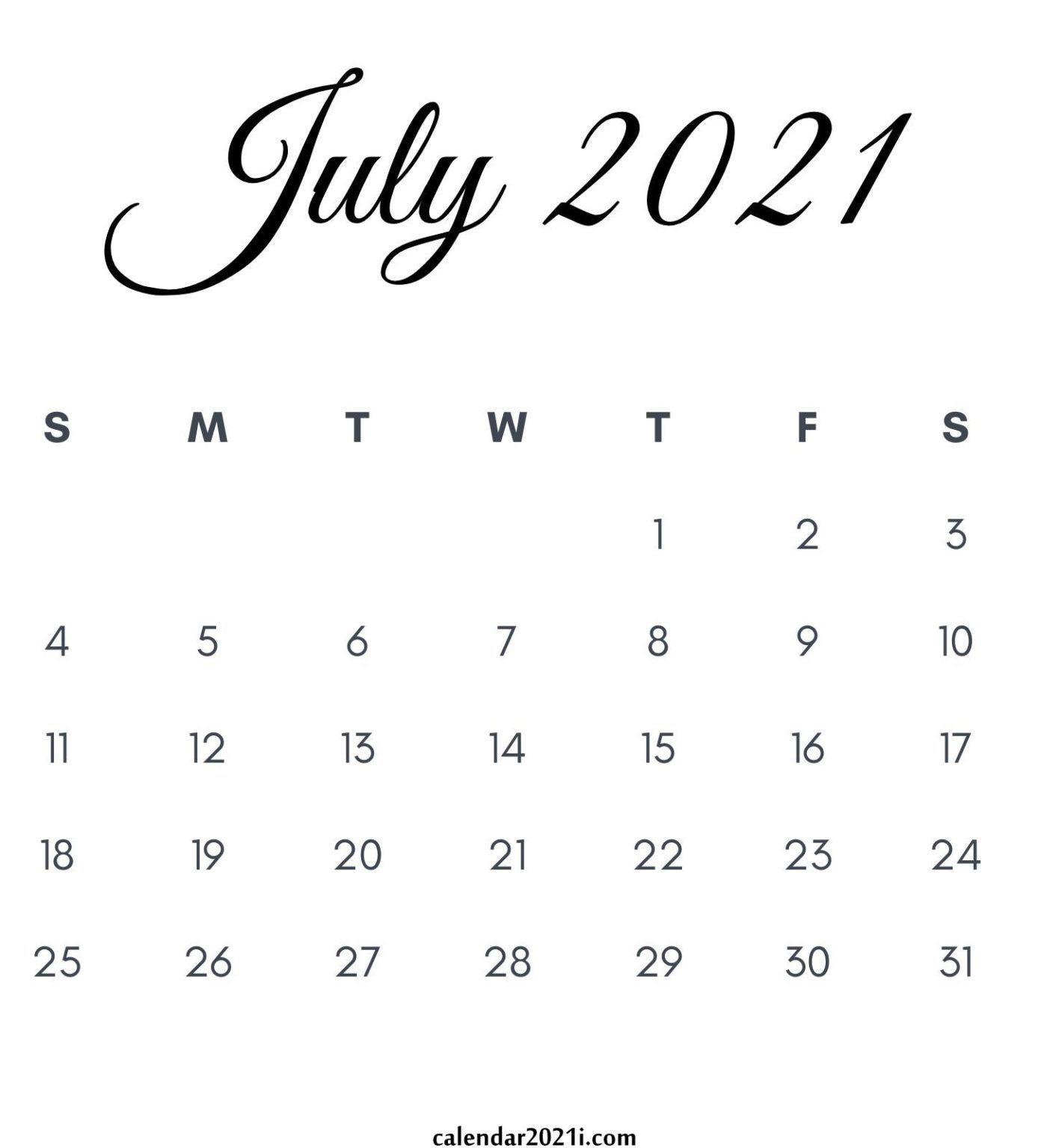 July 2021 Calendar Printable | Printable Calendar July