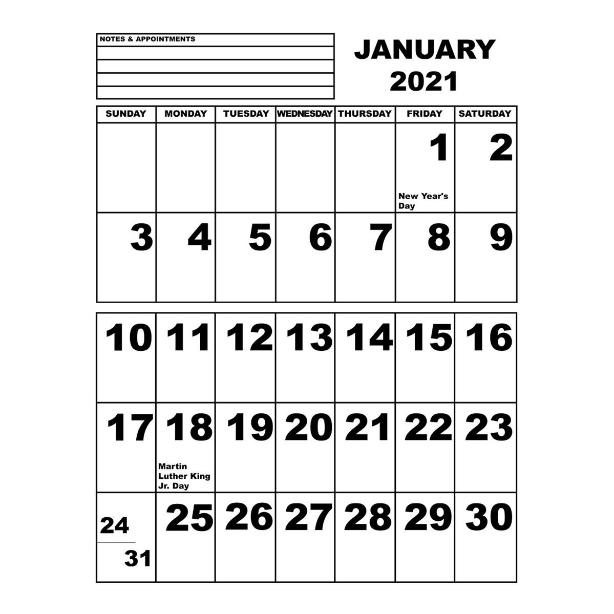 Jumbo Print Calendar - 2021