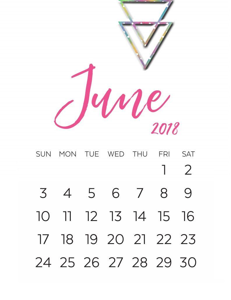 June 2018 Calligraphy Calendar Printable | Calligraphy