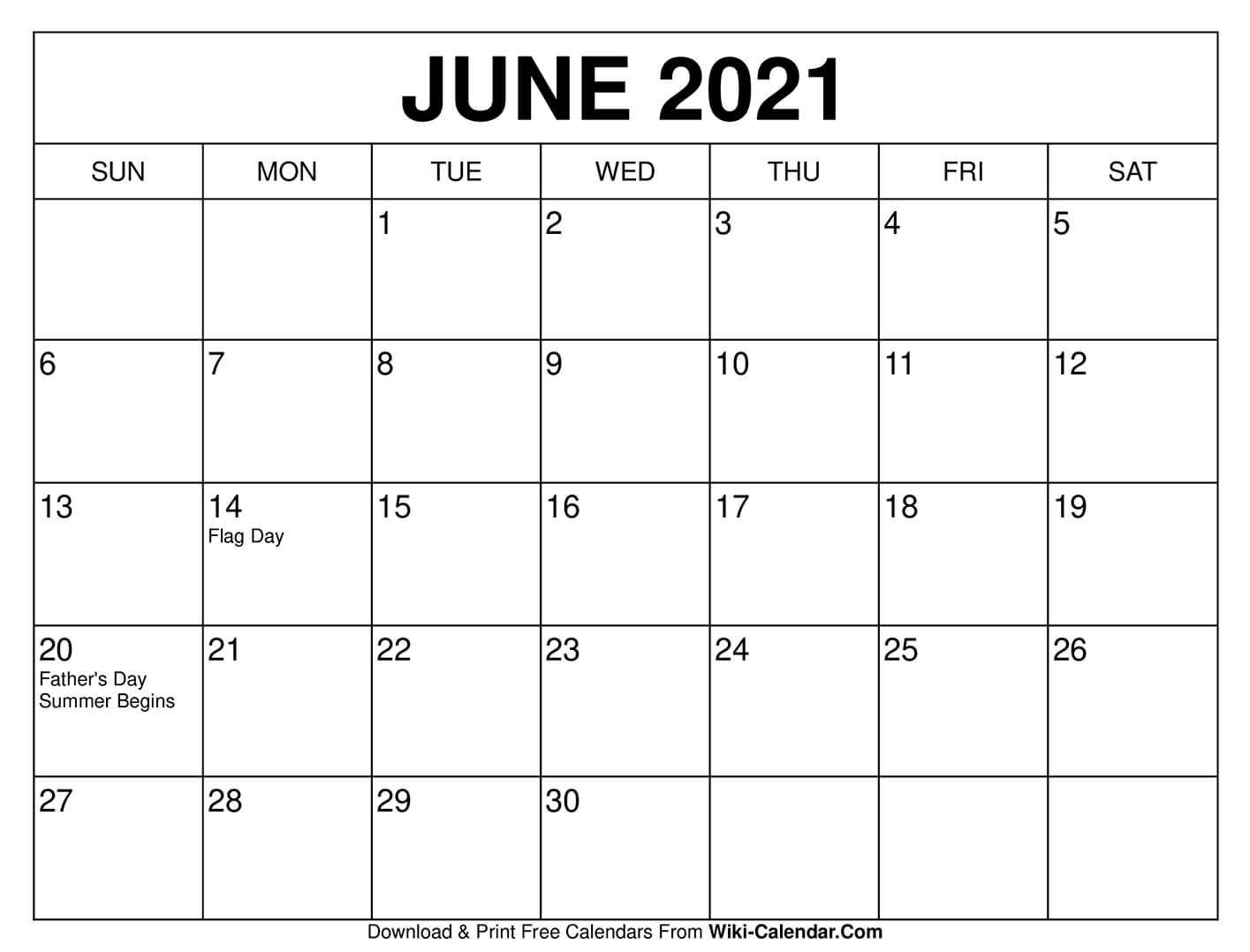 June 2021 Calendar   Calendar Printables, Free Calendars To