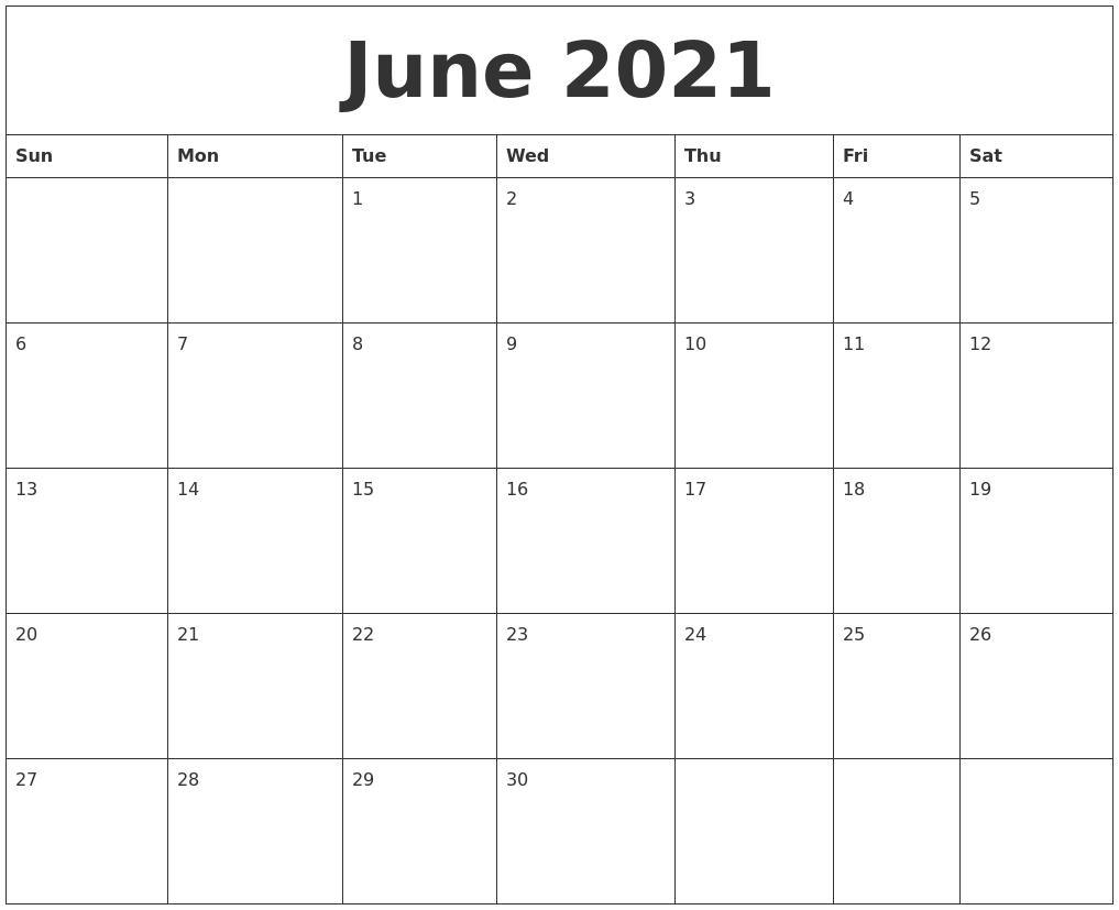 June 2021 Calendar