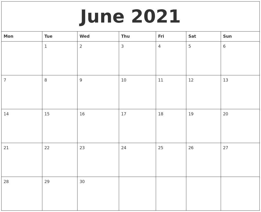 June 2021 Editable Calendar Template