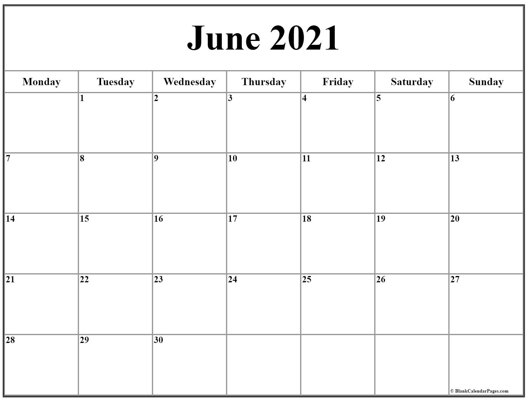 June 2021 Monday Calendar   Monday To Sunday