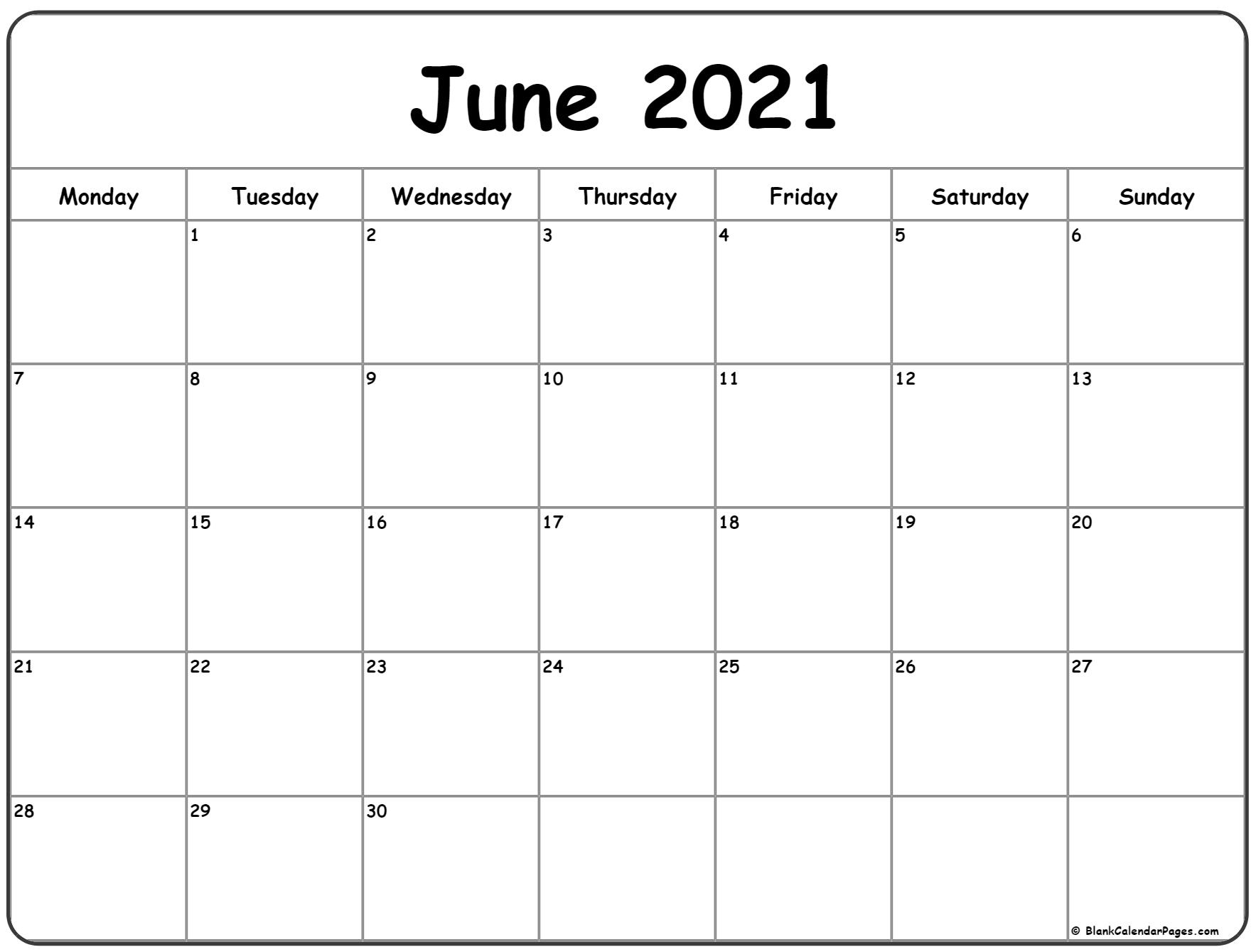 June 2021 Printable Monday Through Friday