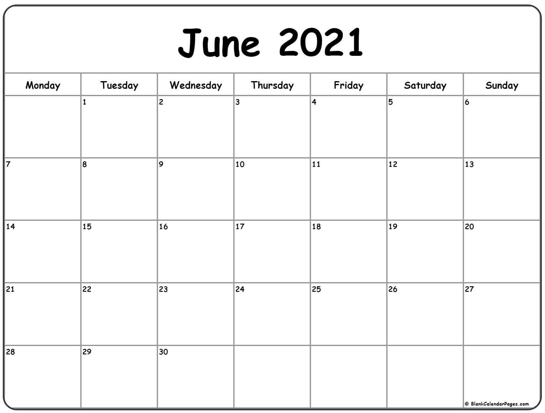 June 2021 Monday Calendar | Monday To Sunday