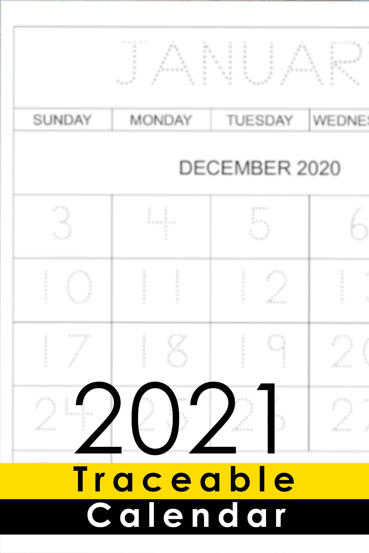 Kids Calendar Printable - 2021 - Capital Letters And Big
