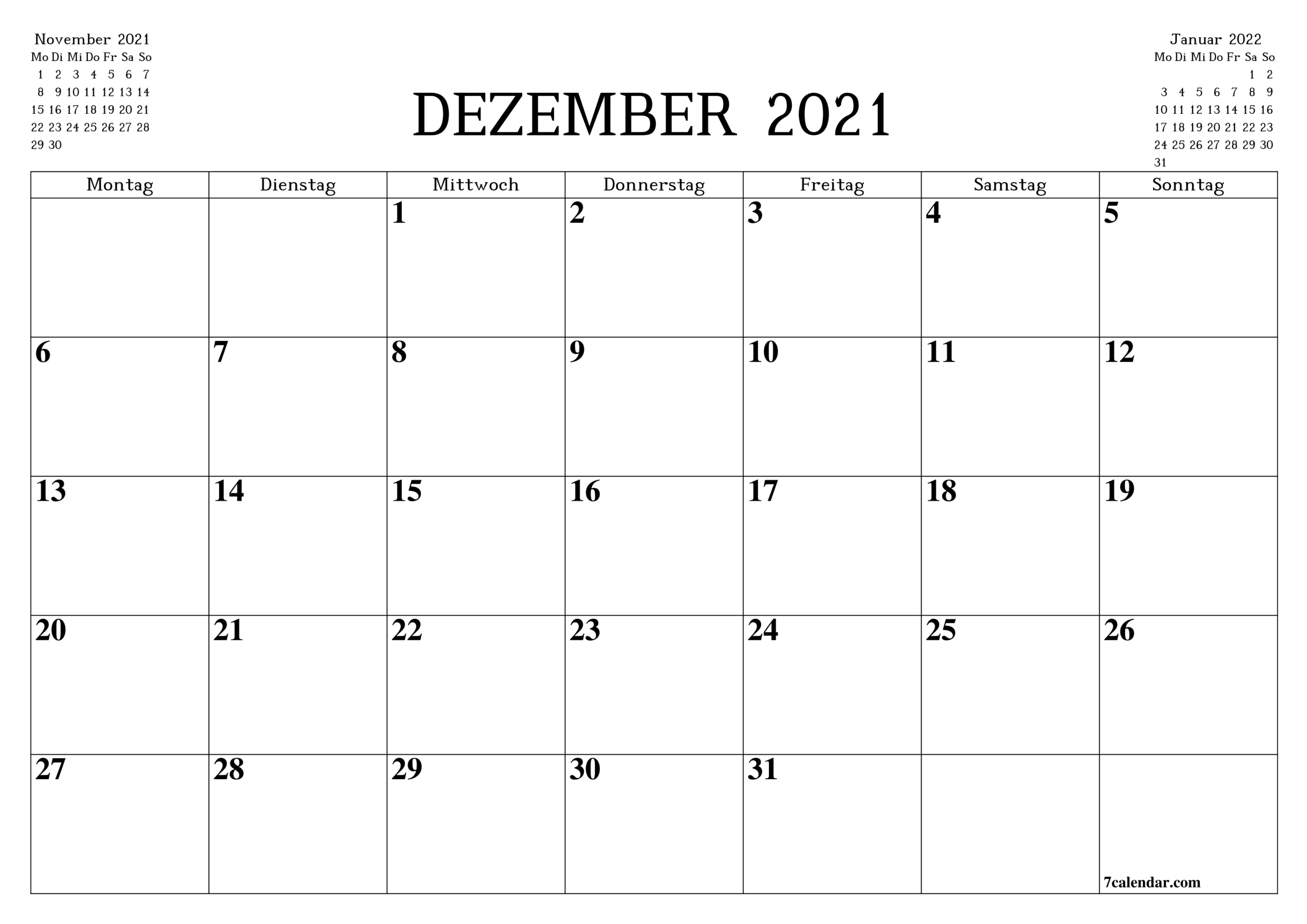 Kostenlose Druckbare Leere Monatskalender Und Planer Für