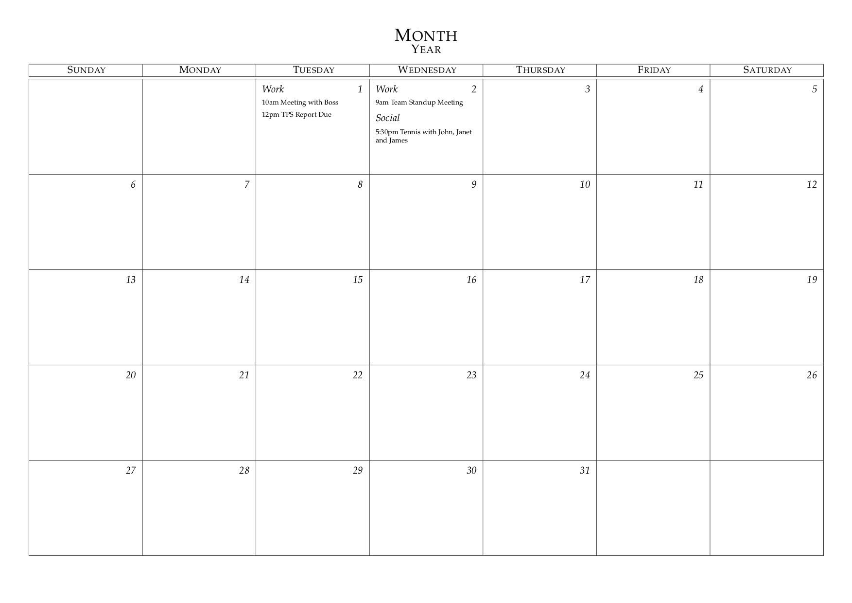 Latex Templates » Monthly Calendar
