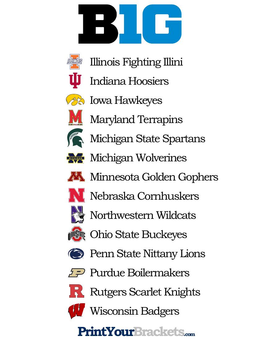 List Of Teams In The Big 10 - Printable
