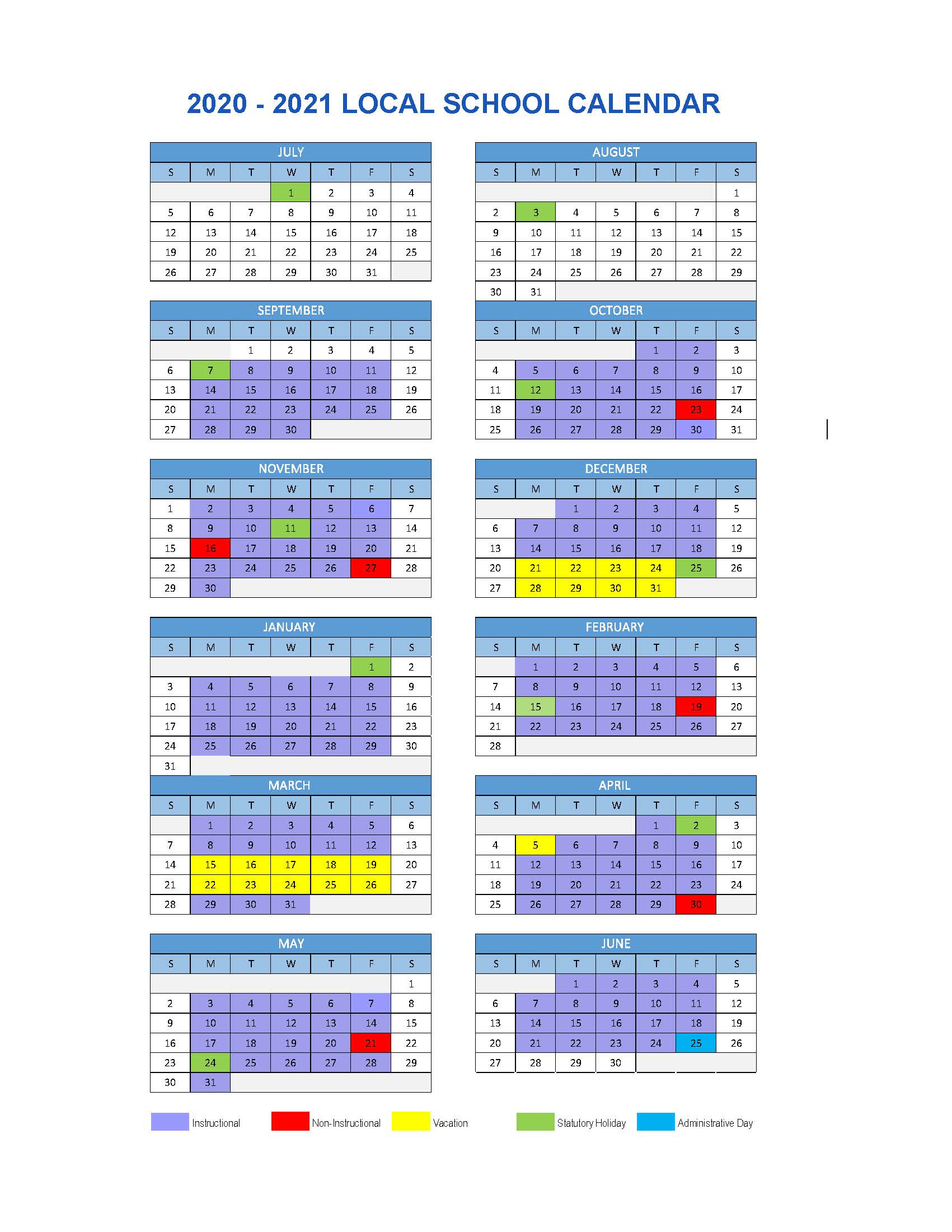 Local School Calendar 2020/2021 | Chilliwack School District #33