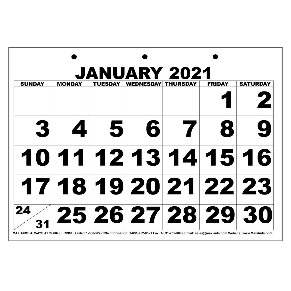 Low Vision Print Calendar - 2021