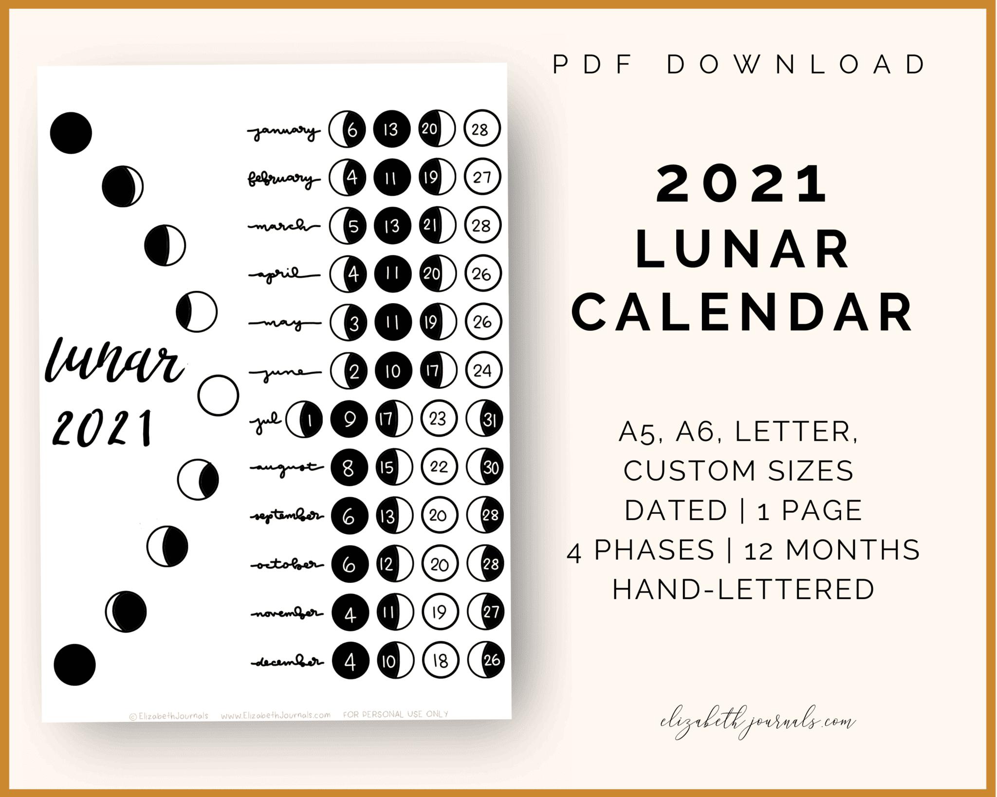 Lunar Calendar Bullet Journal Page | Elizabethjournals