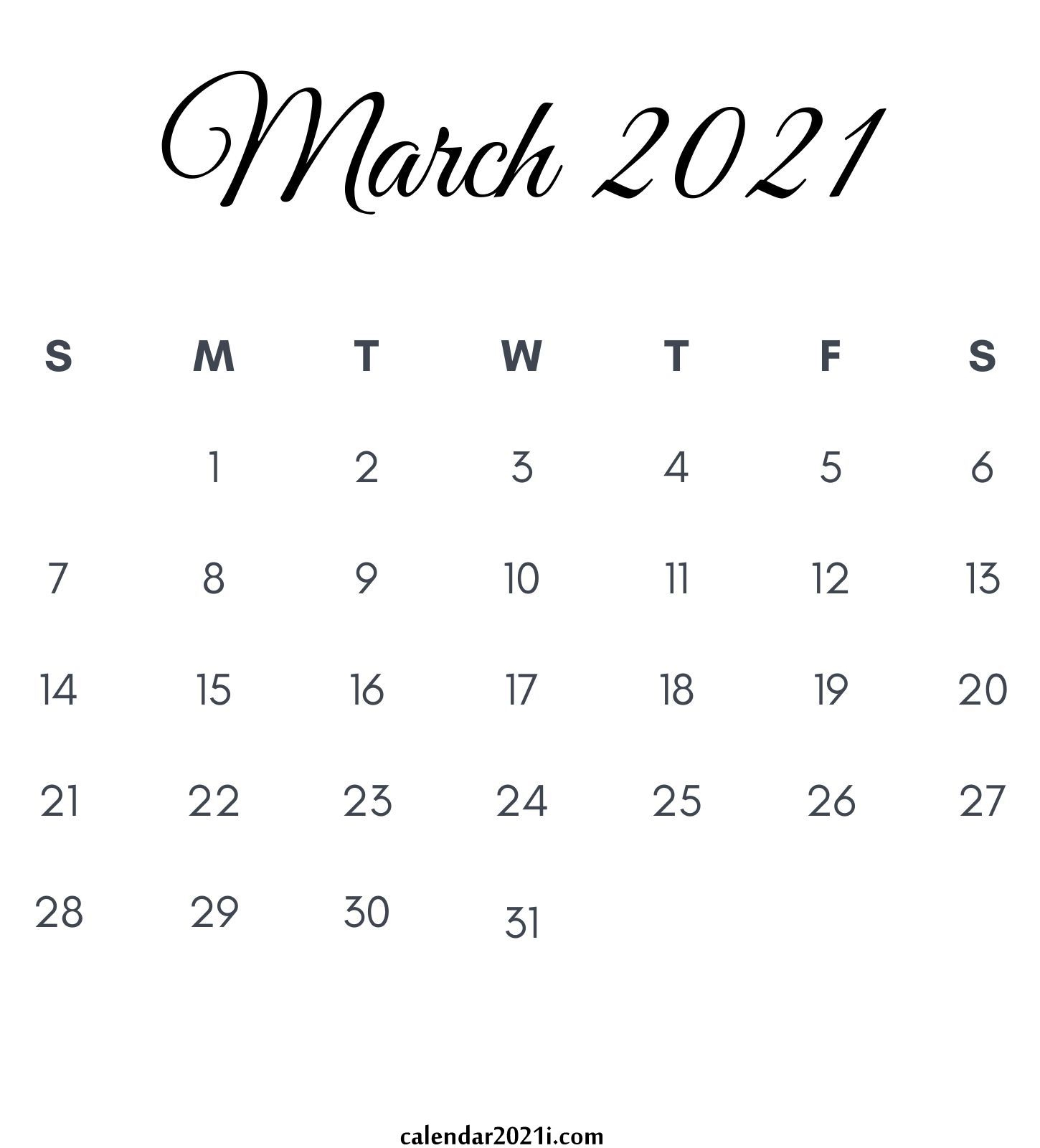 March 2021 Calendar: Printable, Floral, Holidays, Wallpaper