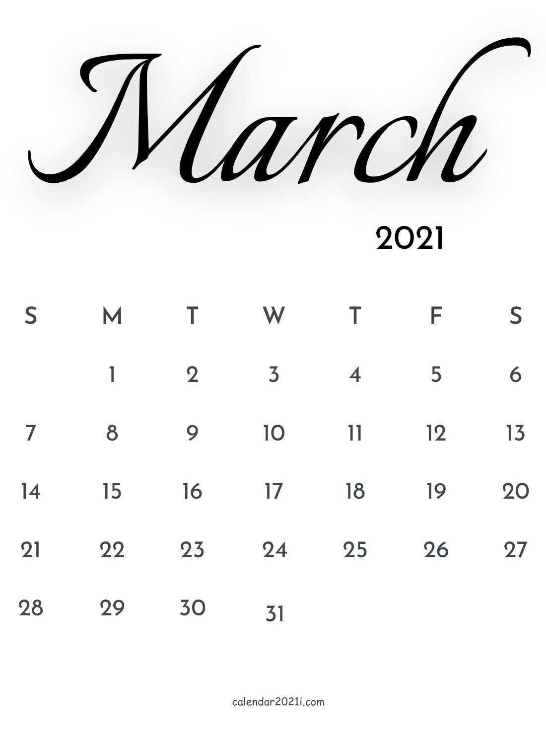 March 2021 Calligraphy Calendar Printable Template Free