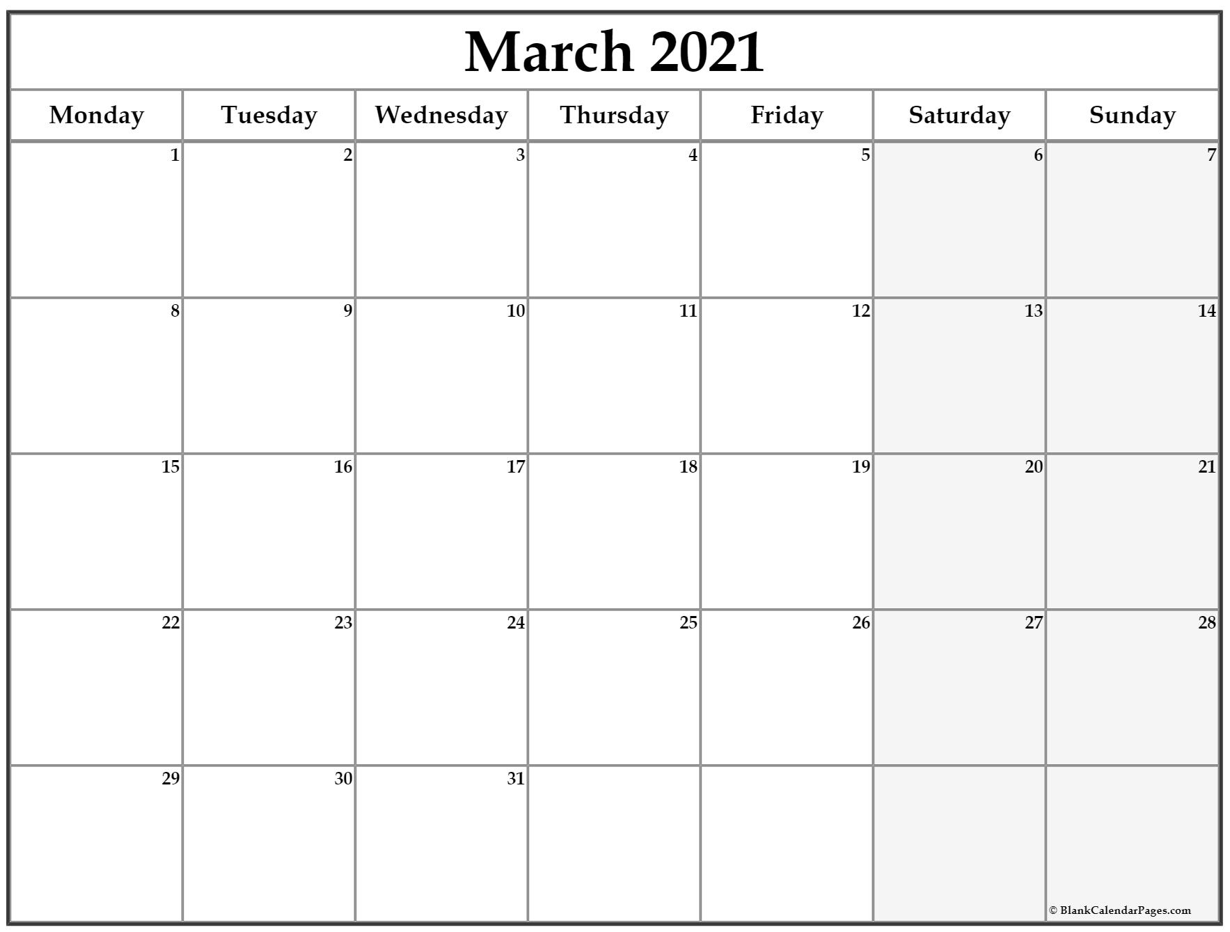 March 2021 Monday Calendar | Monday To Sunday