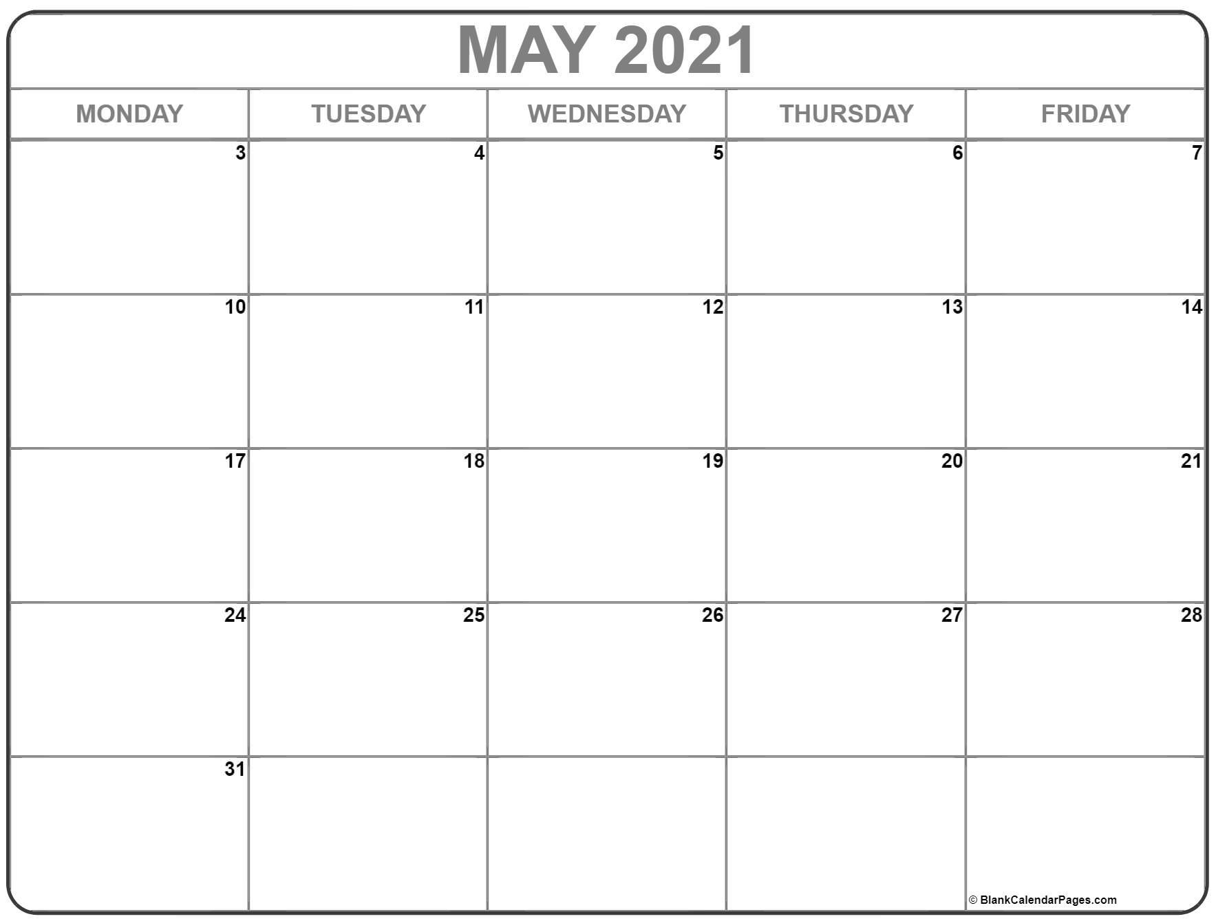 May 2021 Monday Calendar | Monday To Sunday