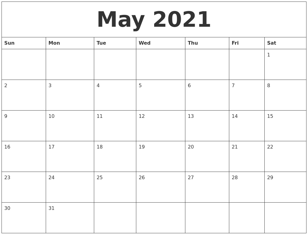 May 2021 Monthly Printable Calendar