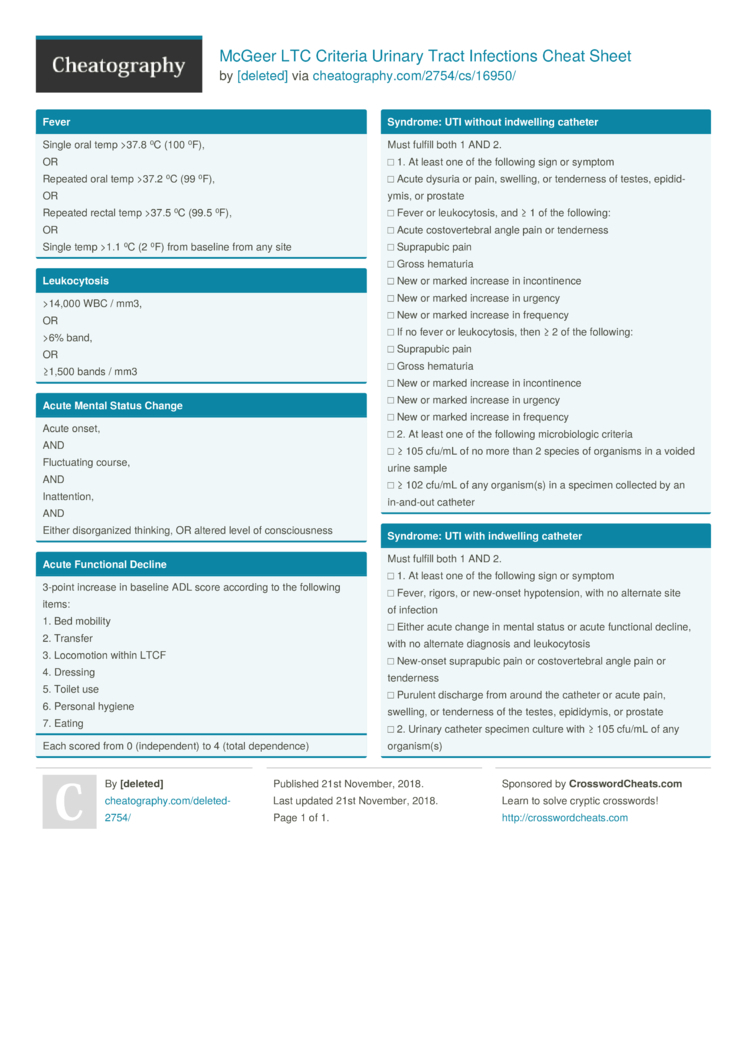 Mcgeer Ltc Criteria Urinary Tract Infections Cheat Sheet By