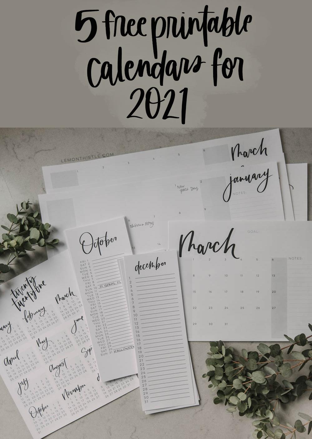 Modern Hand Lettered Free Printable 2021 Calendars - Lemon