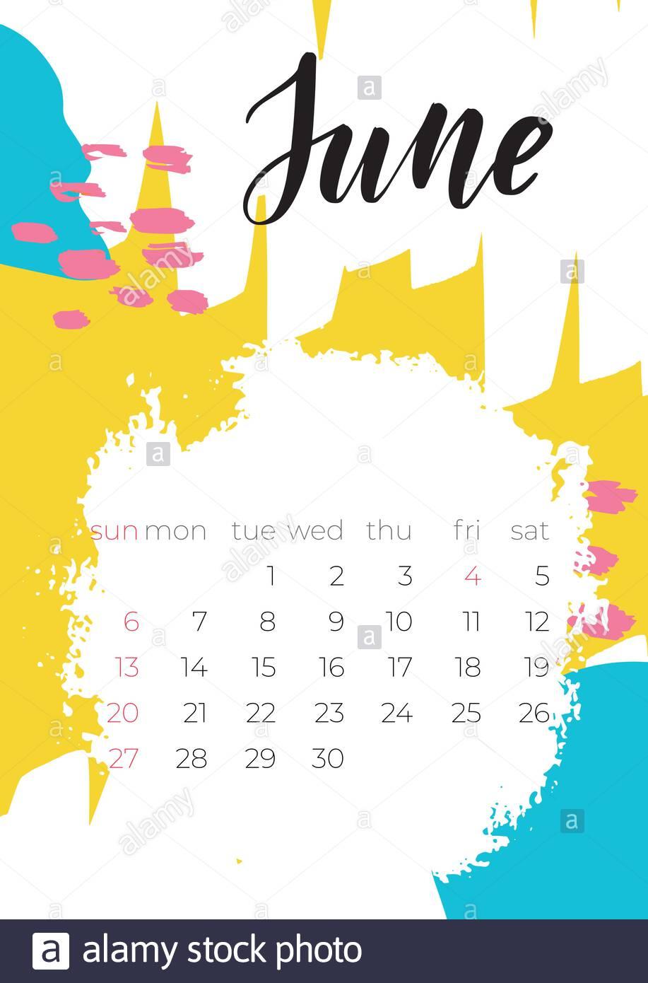 Modern Template With June 2021 Calendar Design Printing