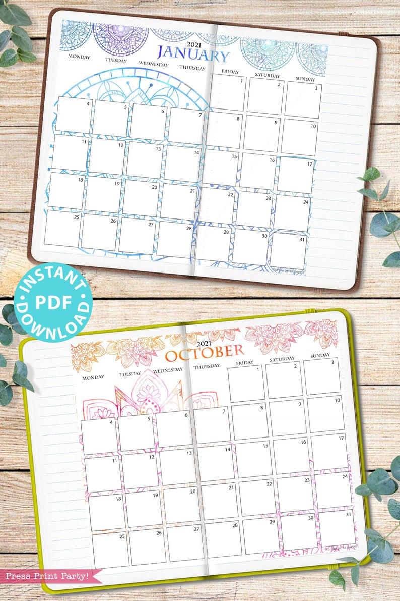 Monday Start 2021 Calendar Printable Set Mandala Watercolor