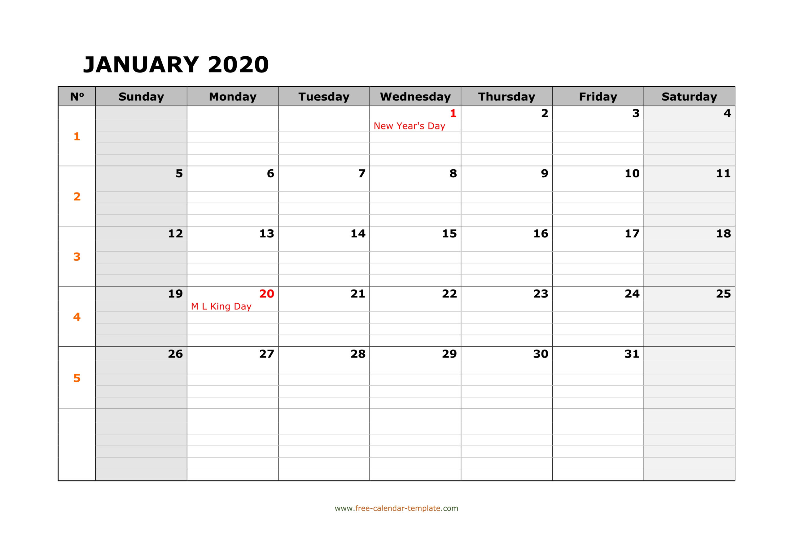 Monthly 2020 Calendar Free Printable With Grid Lines
