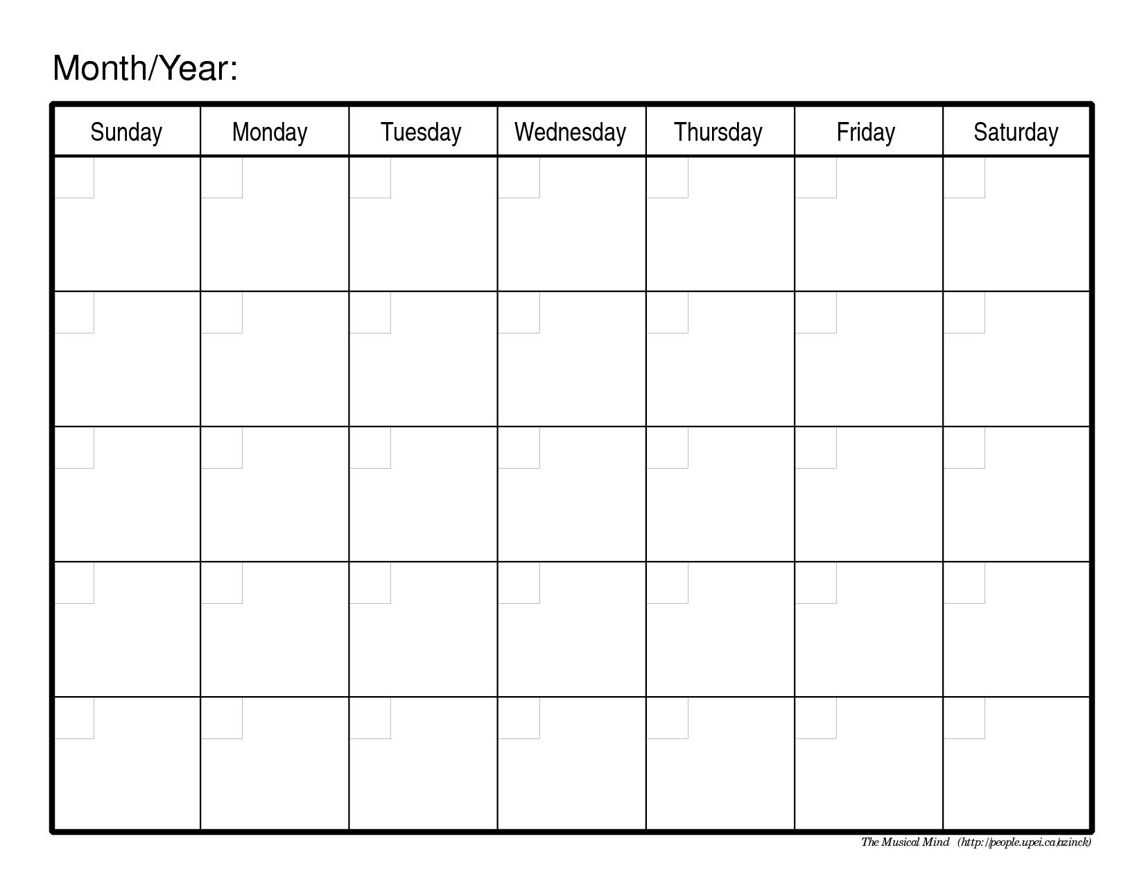 Monthly Calendar Template   Weekly Calendar Template, Blank
