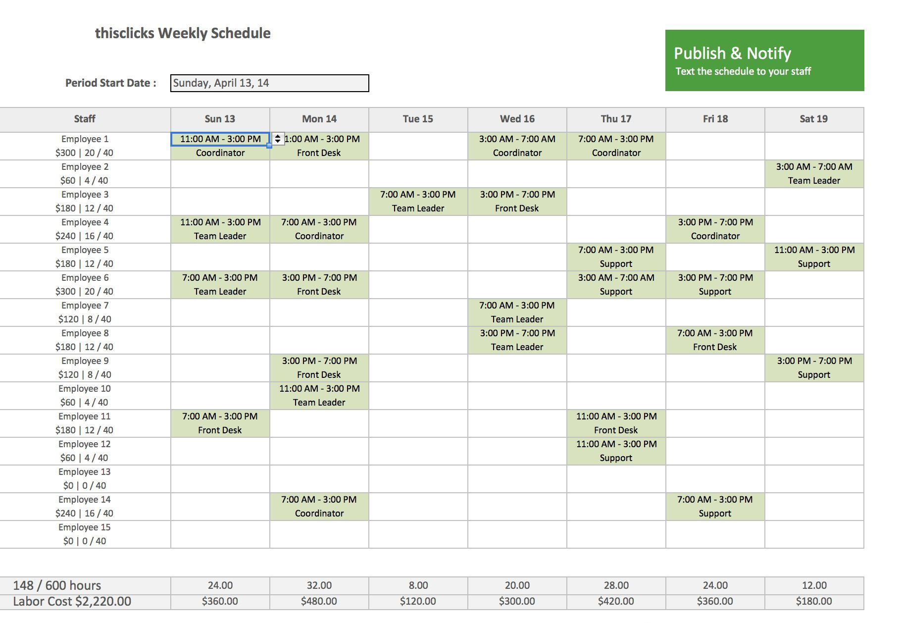 Monthly Employee Schedule Template Excel ~ Addictionary